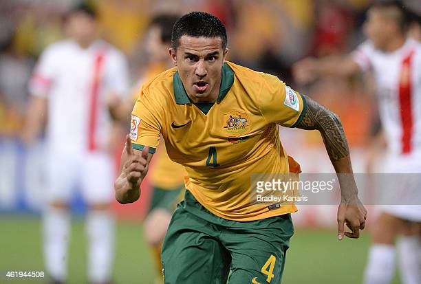 Tim Cahill of Australia cscores a goal during the 2015 Asian Cup match between China PR and the Australian Socceroos at Suncorp Stadium on January 22...