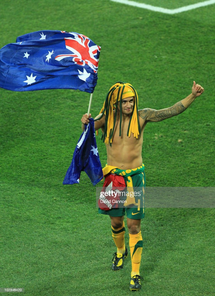 Tim Cahill of Australia gives the thumbs up to fans after victory in the game but elimination from the tournament after the 2010 FIFA World Cup South Africa Group D match between Australia and Serbia at Mbombela Stadium on June 23, 2010 in Nelspruit, South Africa.