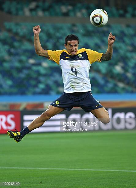 Tim Cahill of Australia heads the ball during a Socceroos training session at the Moses Mabhida Stadium on June 12, 2010 in Durban, South Africa.