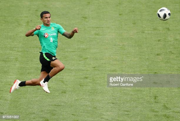 Tim Cahill of Australia heads the ball during an Australia Socceroos training session ahead of the FIFA World Cup 2018 at Stadium Trudovye Rezervy on...