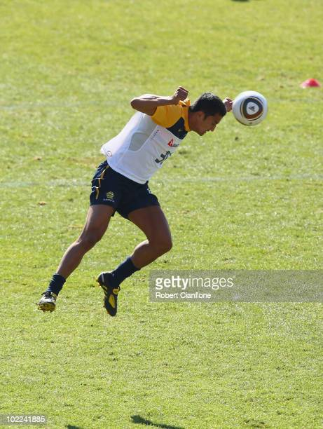 Tim Cahill of Australia heads the ball during an Australian Socceroos training session at Ruimsig Stadium on June 20 2010 in Roodepoort South Africa