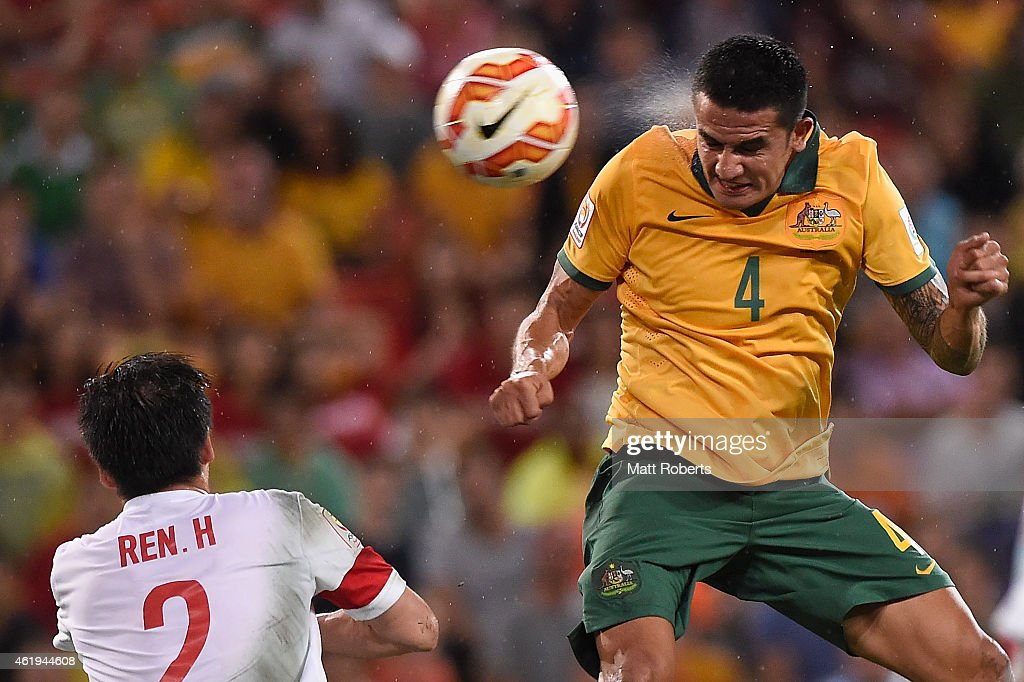 Tim Cahill of Australia heads the ball into the goal during the 2015 Asian Cup match between China PR and the Australian Socceroos at Suncorp Stadium on January 22, 2015 in Brisbane, Australia.