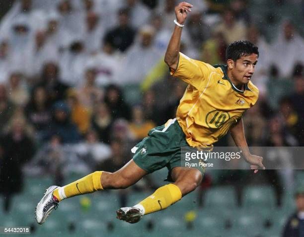 Tim Cahill of Australia in action during the 1st Leg World Cup qualifying match between Australia and the Solomon Islands at Aussie Stadium September...