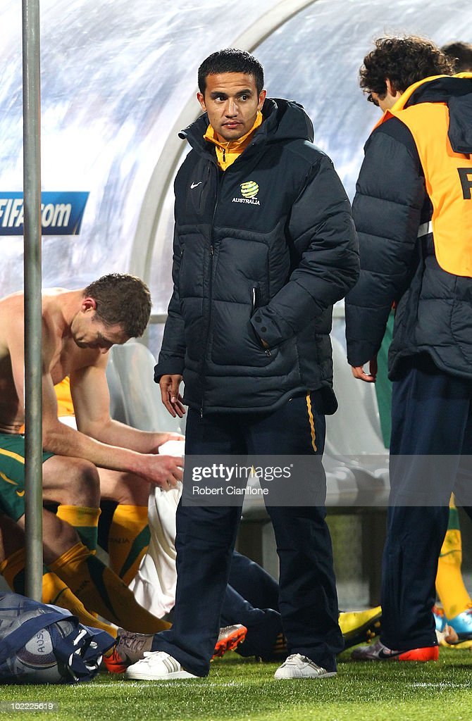Tim Cahill of Australia is pictured in the dugout after a one match ban during the 2010 FIFA World Cup South Africa Group D match between Ghana and Australia at the Royal Bafokeng Stadium on June 19, 2010 in Rustenburg, South Africa.