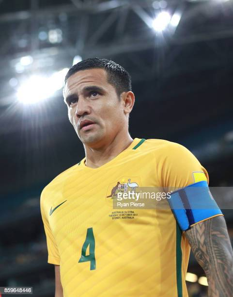 Tim Cahill of Australia leads his team out during the 2018 FIFA World Cup Asian Playoff match between the Australian Socceroos and Syria at ANZ...