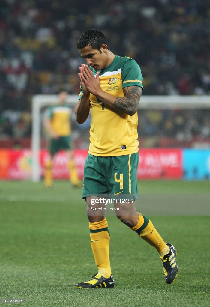 Tim Cahill of Australia looks dejected after victory in the game but elimination from the tournament in the 2010 FIFA World Cup South Africa Group D match between Australia and Serbia at Mbombela Stadium on June 23, 2010 in Nelspruit, South Africa.
