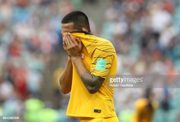 Tim Cahill of Australia looks dejected following his sides defeat in the 2018 FIFA World Cup Russia group C match between Australia and Peru at Fisht...