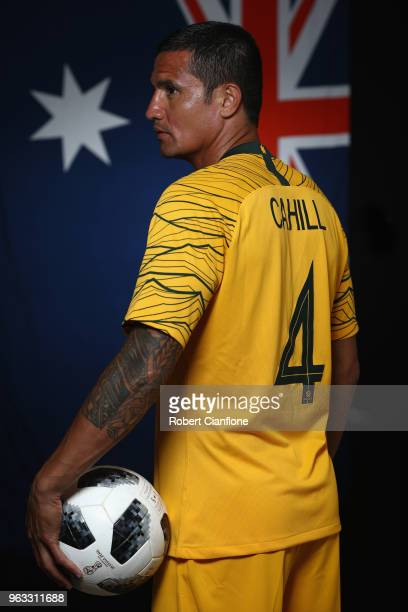Tim Cahill of Australia poses during the Australian Socceroos Portrait Session at the Gloria Football Club on May 28 2018 in Antalya Turkey