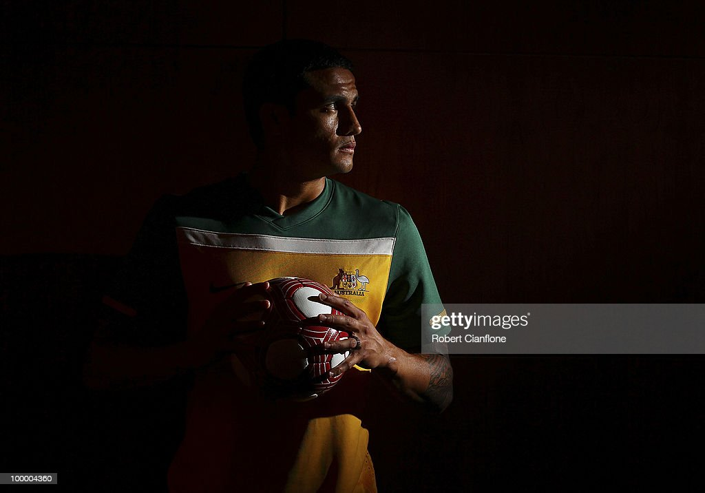 Tim Cahill of Australia poses for a portrait during an Australian Socceroos portrait session at Park Hyatt Hotel on May 20, 2010 in Melbourne, Australia.
