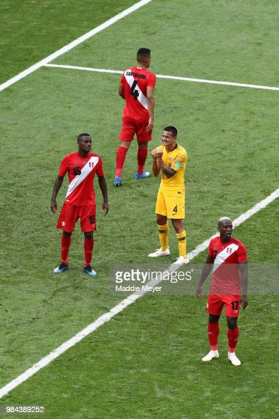 Tim Cahill of Australia reacts during the 2018 FIFA World Cup Russia group C match between Australia and Peru at Fisht Stadium on June 26, 2018 in...