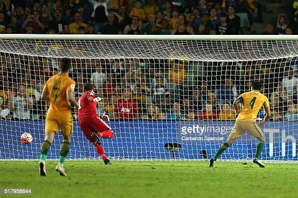 Tim Cahill of Australia scores a goal during the 2018 FIFA World Cup Qualification match between the Australian Socceroos and Jordan at Allianz...