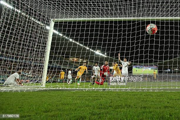 Tim Cahill of Australia scores his first goal during the 2018 FIFA World Cup Qualification match between the Australian Socceroos and Jordan at...
