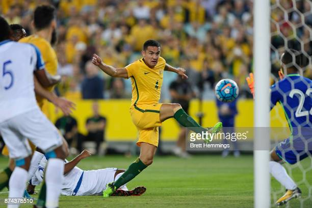 Tim Cahill of Australia shoots for goal during the 2018 FIFA World Cup Qualifiers Leg 2 match between the Australian Socceroos and Honduras at ANZ...