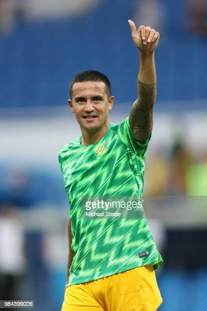 Tim Cahill of Australia shows appreciation to the fans prior to the 2018 FIFA World Cup Russia group C match between Australia and Peru at Fisht...