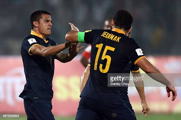Tim Cahill of Australia Socceroos celebrates with Mile Jedinak after scoring the 1st goal against Bangladesh during the 2018 FIFA World Cup...