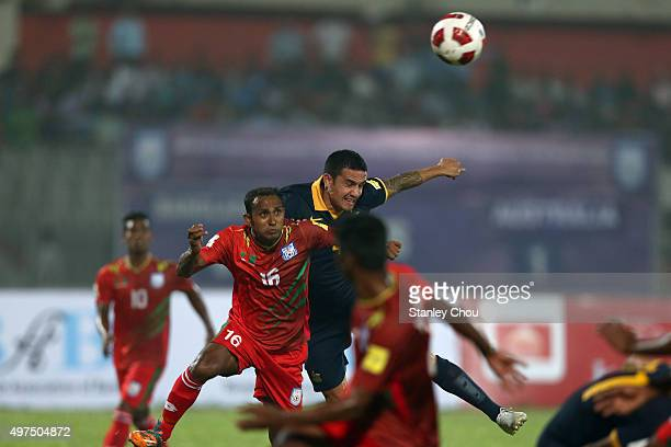 Tim Cahill of Australia Socceroos heads the ball during the 2018 FIFA World Cup Qualification match between Bangladesh and the Australia Socceroos at...