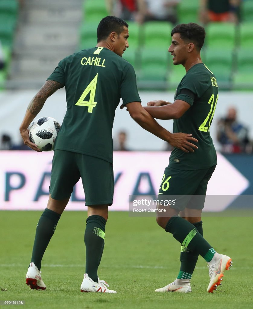 Tim Cahill of Australia speaks with Daniel Arzani of Australia during the International Friendly match between Hungary and Australia at Groupama Arena on June 9, 2018 in Budapest, Hungary.