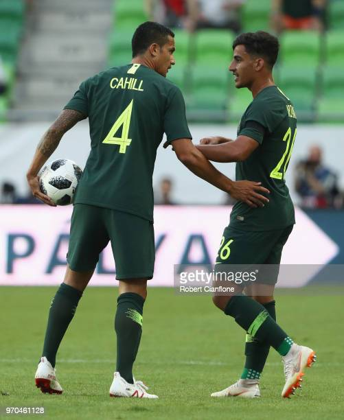 Tim Cahill of Australia speaks with Daniel Arzani of Australia during the International Friendly match between Hungary and Australia at Groupama...