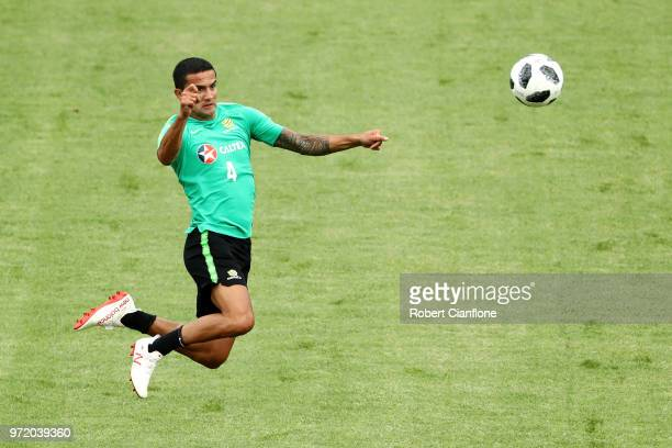 Tim Cahill of Australia takes part during an Australia Socceroos training session ahead of the FIFA World Cup 2018 at Stadium Trudovye Rezervy on...