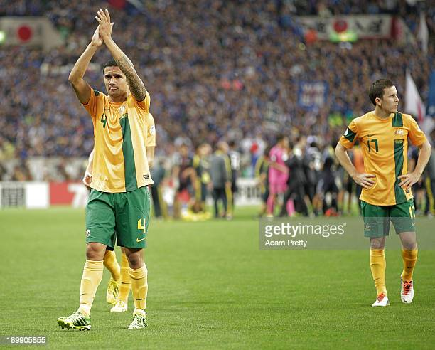 Tim Cahill of Australia thanks fans after the FIFA World Cup qualifier match between Japan and Australia at Saitama Stadium on June 4 2013 in Saitama...
