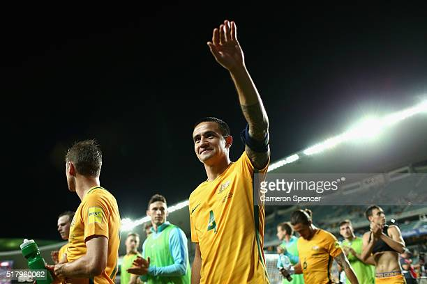 Tim Cahill of Australia thanks fans after winning the 2018 FIFA World Cup Qualification match between the Australian Socceroos and Jordan at Allianz...