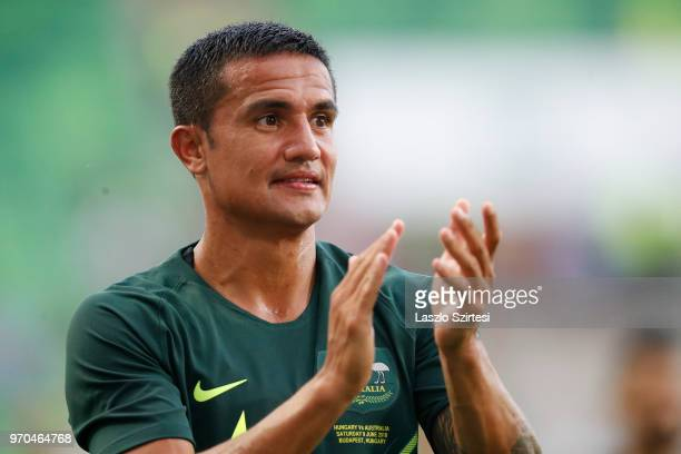 Tim Cahill of Australia thanks the support for the fans during the International Friendly match between Hungary and Australia at Groupama Arena on...