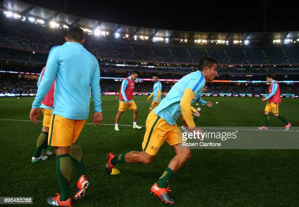 Tim Cahill of Australia warms up for the Brasil Global Tour match between Australian Socceroos and Brazil at Melbourne Cricket Ground on June 13 2017...