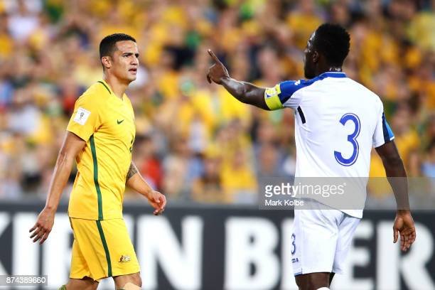 Tim Cahill of Australia watches on as h3 gestures during the 2018 FIFA World Cup Qualifiers Leg 2 match between the Australian Socceroos and Honduras...