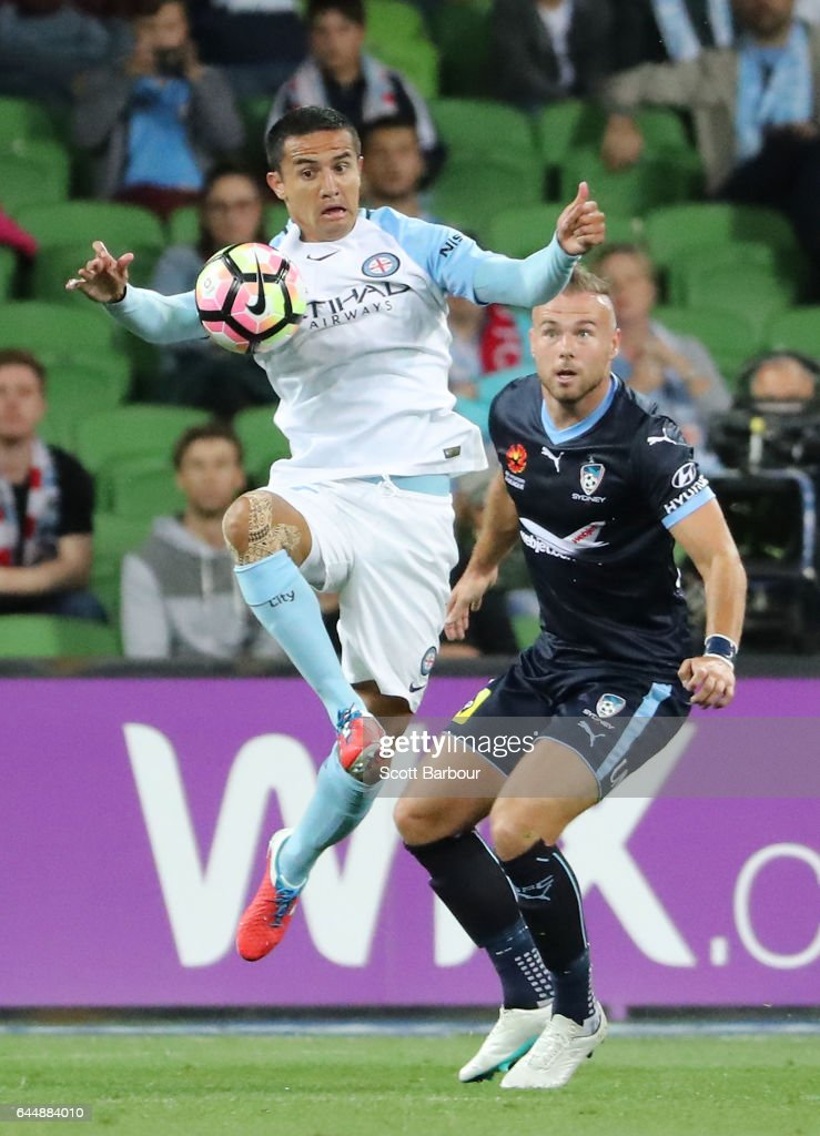 Tim Cahill of City competes for the ball during the round 21 A-League match between Melbourne City and Sydney FC at AAMI Park on February 24, 2017 in Melbourne, Australia.