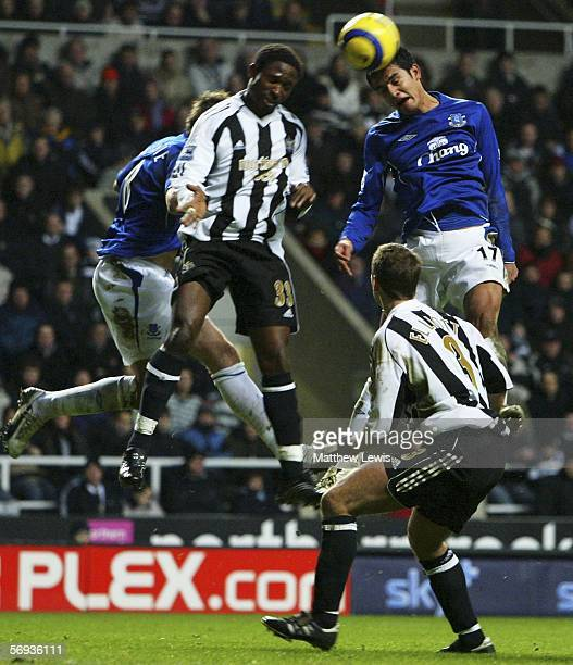 Tim Cahill of Everton beats Celestine Babyaro of Newcastle to the ball during the Barclays Premiership match between Newcastle United and Everton at...