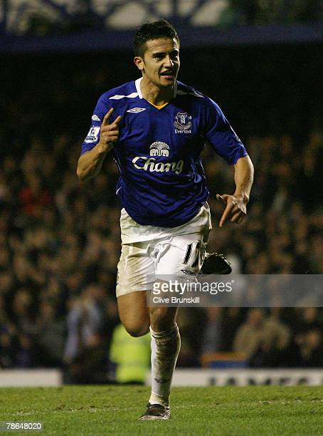 Tim Cahill of Everton celebrates scoring Everton's second goal during the Barclays Premier League match between Everton and Bolton Wanderers at...