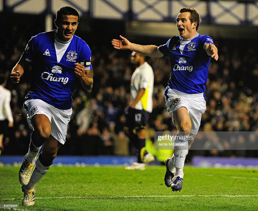 Tim Cahill of Everton celebrates scoring his team's second goal with team mate Leighton Baines (R) during the Barclays Premier League match between Everton and Tottenham Hotspur at Goodison Park on December 6, 2009 in Liverpool, England.