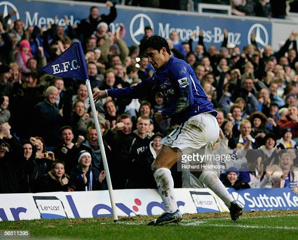 Tim Cahill of Everton celebrates scoring the second goal during the Barclays Premiership match between Everton and Charlton Athletic at Goodison Park...