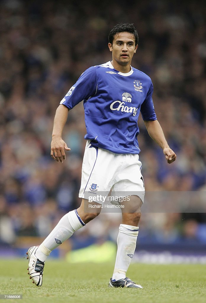 Tim Cahill of Everton in action during the Barclays Premiership match between Everton and Watford at Goodison Park on August 19, 2006 in Liverpool, England.