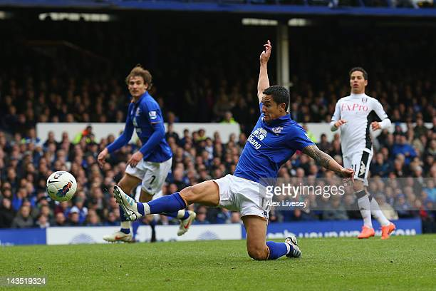 Tim Cahill of Everton scores the fourth goal during the Barclays Premier League match between Everton and Fulham at Goodison Park on April 28, 2012...