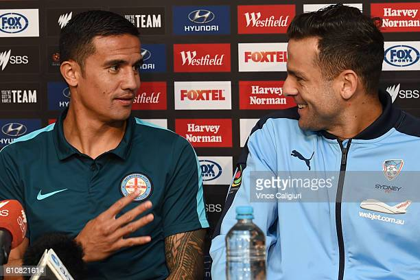 Tim Cahill of Melbourne City and Bobo of Sydney FC are seen during the ALeague 2016/17 PreSeason Media Conference at AAMI Park on September 28 2016...
