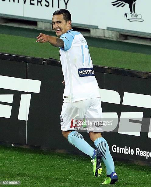 Tim Cahill of Melbourne City celebrates after scoring a goal during the FFA Cup Quarter Final between Melbourne City and Western Sydney at AAMI Park...