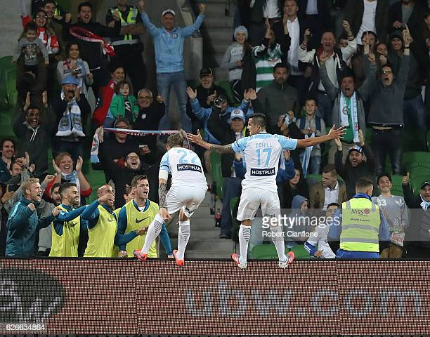 Tim Cahill of Melbourne City celebrates after scoring a goal during the FFA Cup Final match between Melbourne City FC and Sydney FC at AAMI Park on...
