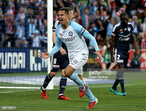 Tim Cahill of Melbourne City celebrates after scoring a goal during the round 11 ALeague match between Melbourne City FC and Melbourne Victory at...