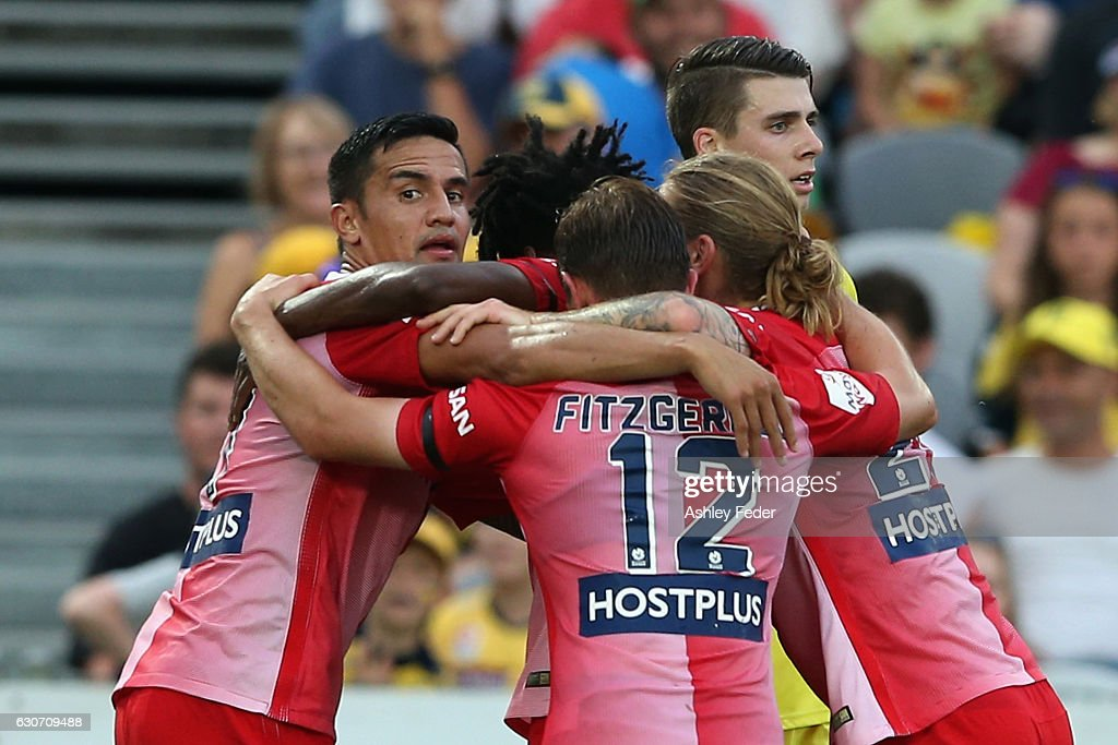 Tim Cahill of Melbourne City celebrates his goal with his team during the round 13 A-League match between the Central Coast Mariners and Melbourne City at Central Coast Stadium on December 31, 2016 in Gosford, Australia.