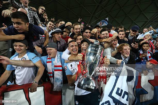 Tim Cahill of Melbourne City celebrates with fans after Melbourne City defeated Sydney FC during the FFA Cup Final match between Melbourne City FC...