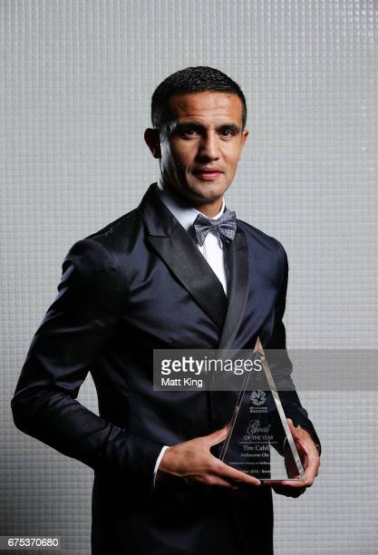 Tim Cahill of Melbourne City FC poses with the ALeague Goal of the Year award during the FFA Dolan Warren Awards at The Star on May 1 2017 in Sydney...