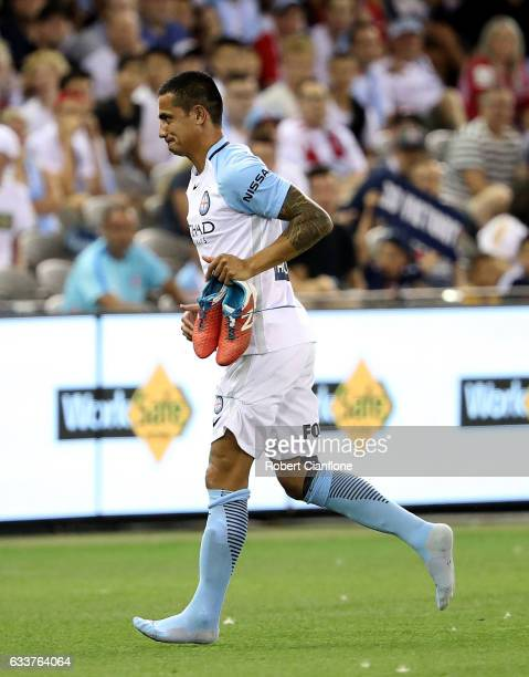 Tim Cahill of Melbourne City is sent off from the sidelines during the round 18 ALeague match between Melbourne Victory and Melbourne City FC at...