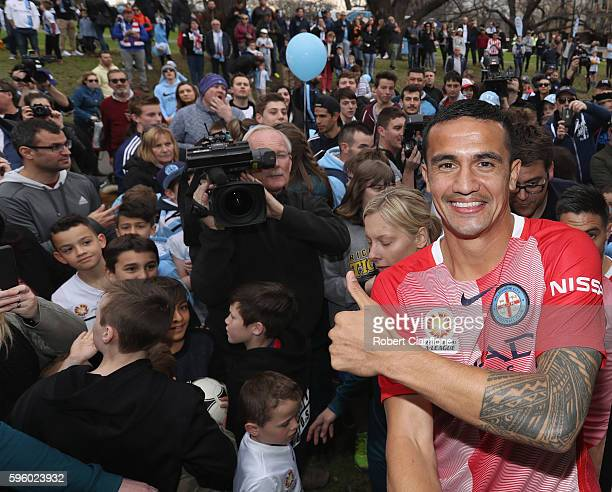 Tim Cahill of Melbourne City poses during the Melbourne City FC 2016/17 Away Kit Unveil and Fan Event at Flagstaff Gardens on August 27 2016 in...