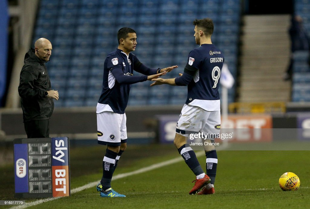 Tim Cahill of Millwall comes on for Lee Gregory of Millwall to make his Millwall debut during the Sky Bet Championship match between Millwall and Cardiff Cityat The Den on February 9, 2018 in London, England.