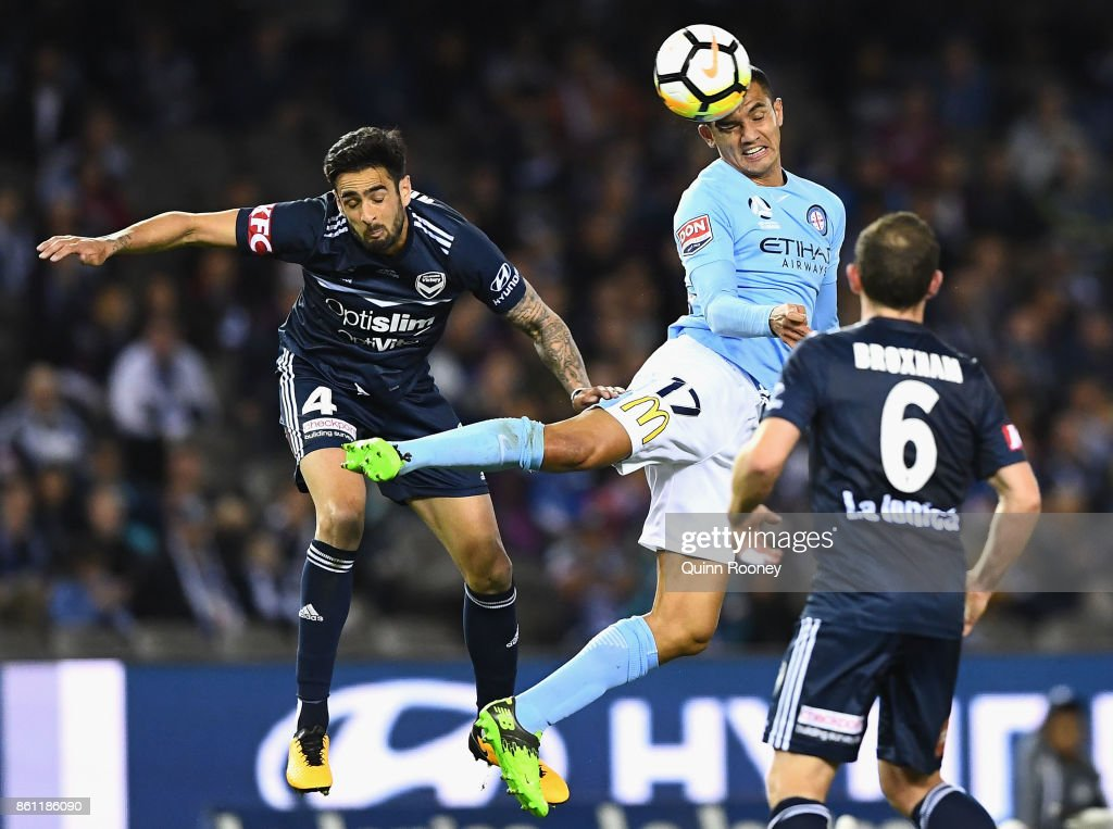 Tim Cahill of the City heads the ball during the round two A-League match between Melbourne Victory and Melbourne City FC at Etihad Stadium on October 14, 2017 in Melbourne, Australia.