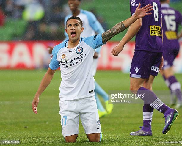 Tim Cahill of the City reacts after a contest during the round three ALeague match between Melbourne City FC and Perth Glory at AAMI Park on October...