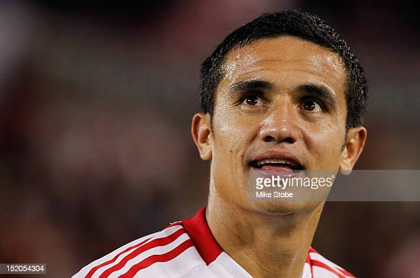 Tim Cahill of the New York Red Bulls smiles after defeating the Columbus Crew at Red Bull Arena on September 15 2012 in Harrison New Jersey Red Bulls...