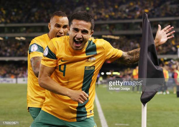 Tim Cahill of the Socceroos celebrates a goal during the FIFA World Cup Qualifier match between the Australian Socceroos and Jordan at Etihad Stadium...