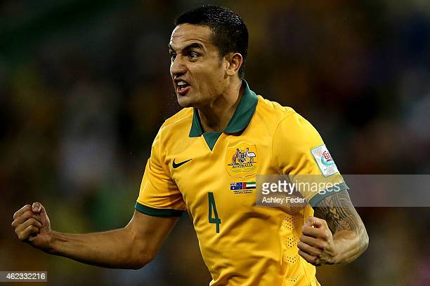 Tim Cahill of the Socceroos celebrates a goal with team mates during the Asian Cup Semi Final match between the Australian Socceroos and the United...